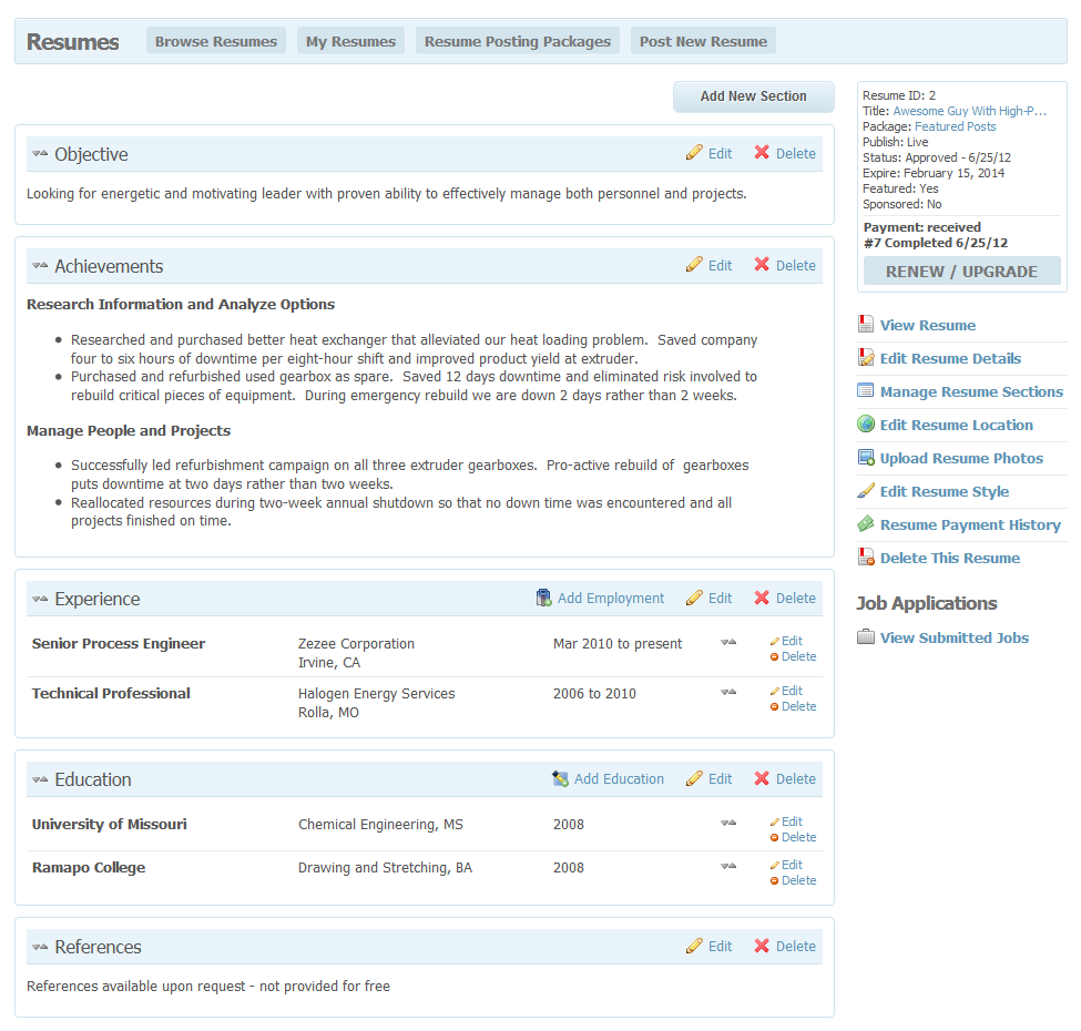 Resume Sections On A Resume radcodes web development for socialengine plugins resume edit sections